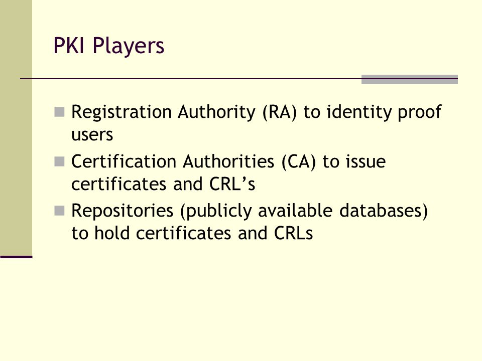 PKI Players Registration Authority (RA) to identity proof users