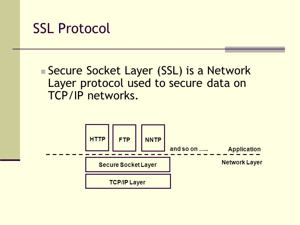 SSL Protocol Secure Socket Layer (SSL) is a Network Layer protocol used to secure data on TCP/IP networks.