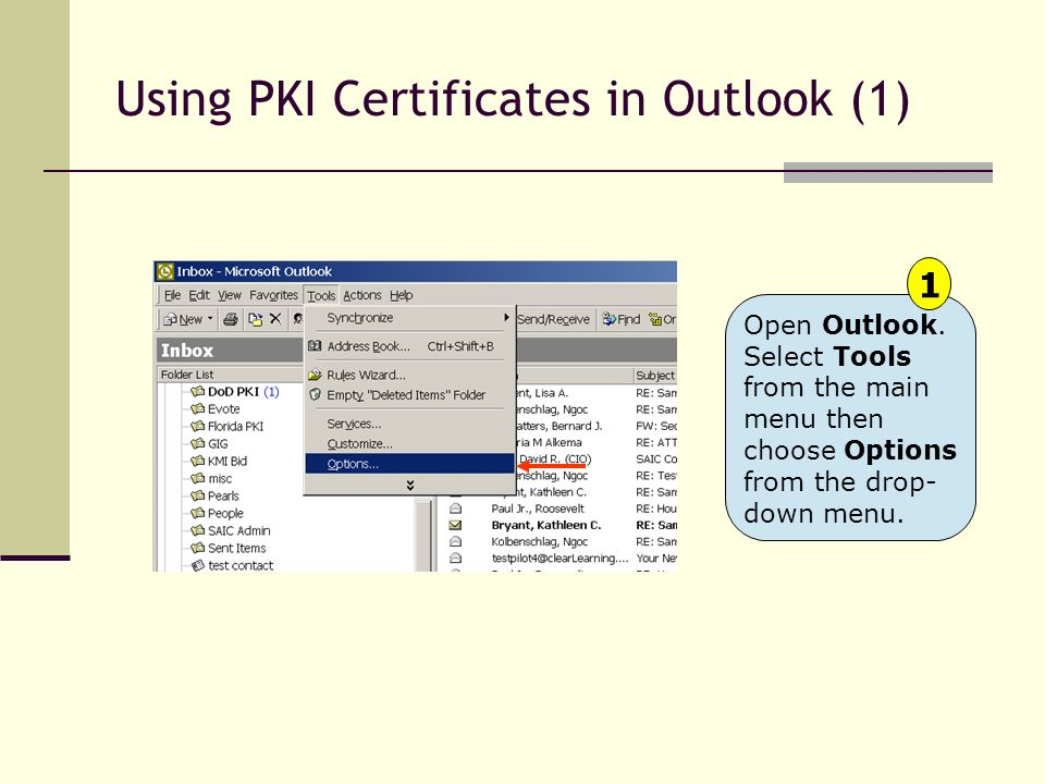 Using PKI Certificates in Outlook (1)