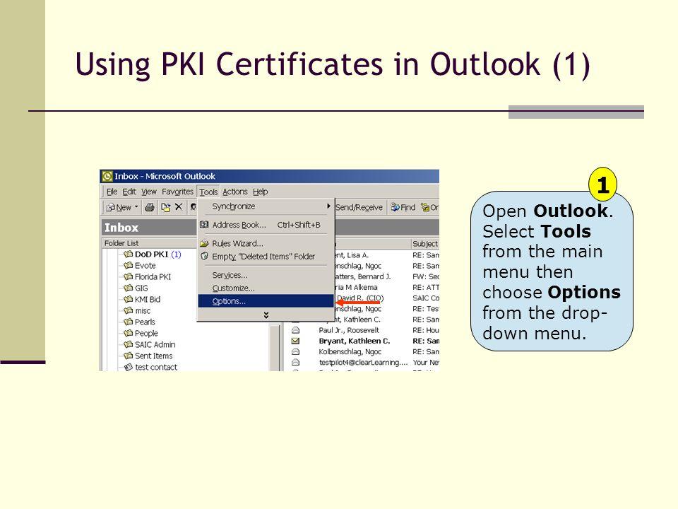 Using PKI Certificates in Outlook (1)