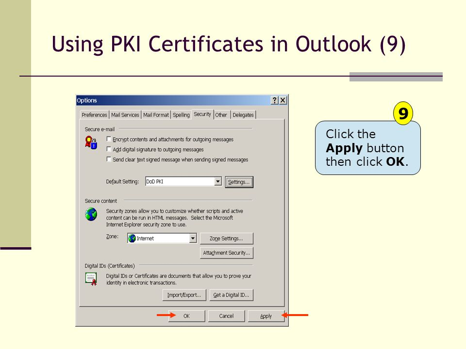Using PKI Certificates in Outlook (9)
