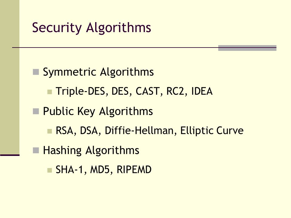 Security Algorithms Symmetric Algorithms Public Key Algorithms