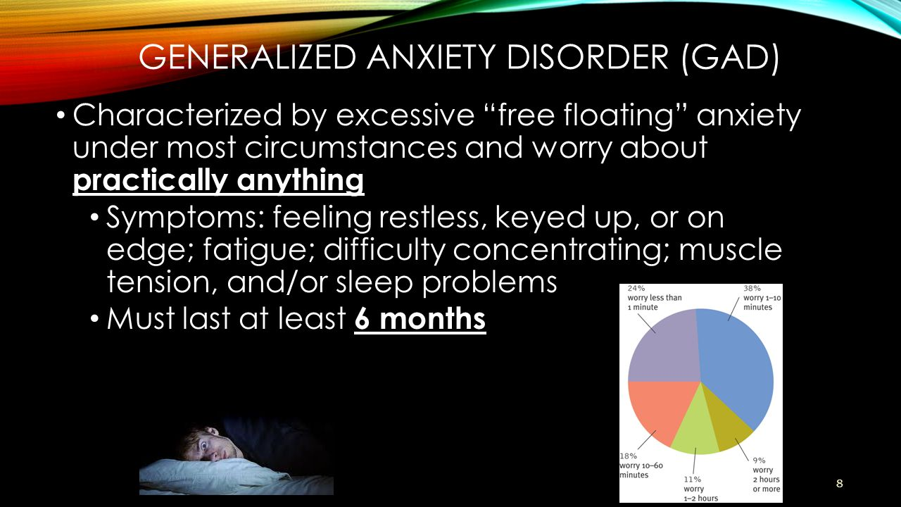 People with generalized anxiety disorder GAD experience extreme worry that can interfere with sleep and is usually accompanied by body symptoms ranging from
