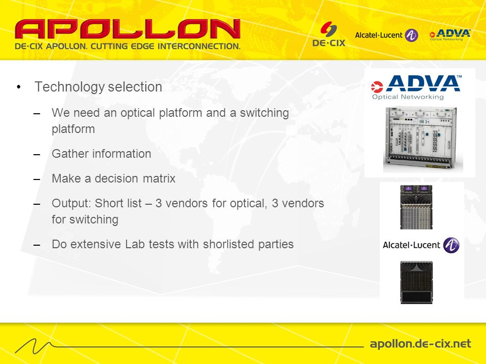 Technology selection We need an optical platform and a switching platform. Gather information. Make a decision matrix.