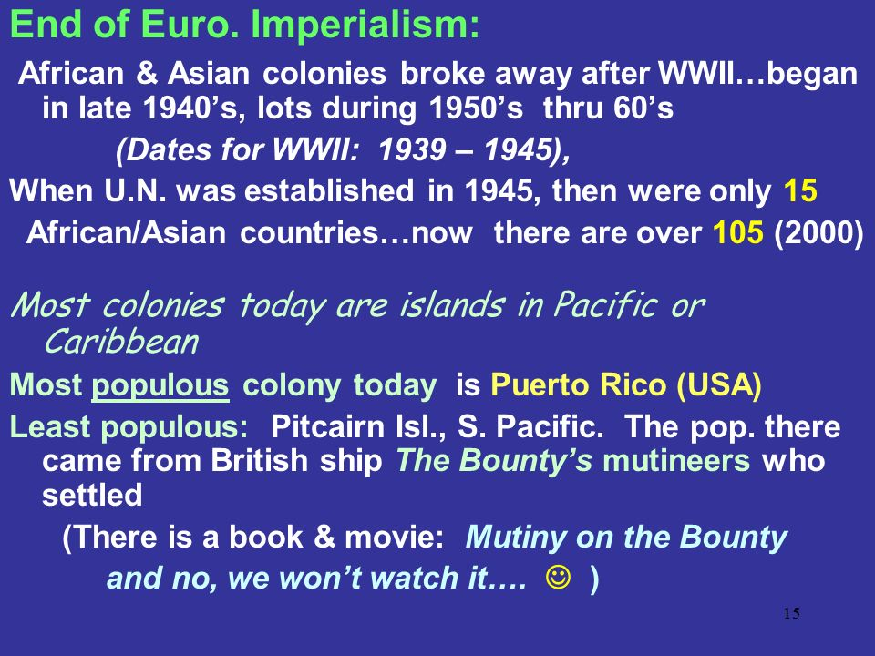 End of Euro. Imperialism: