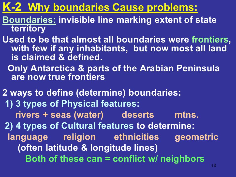 K-2 Why boundaries Cause problems: