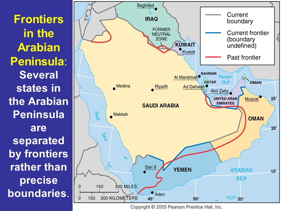 Frontiers in the Arabian Peninsula: Several states in the Arabian Peninsula are separated by frontiers rather than precise boundaries.