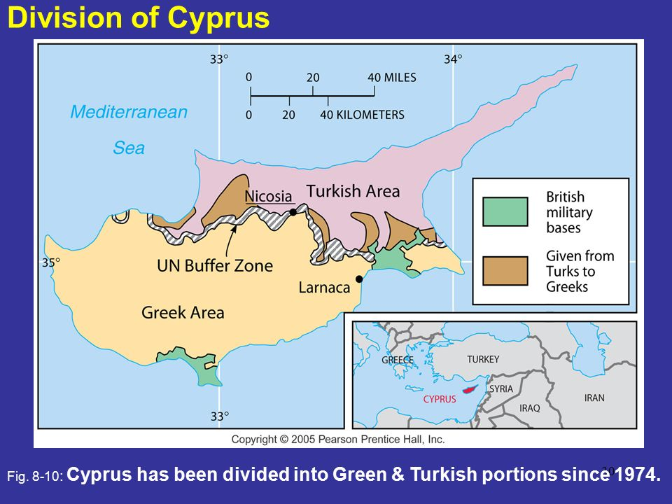 Division of Cyprus Fig. 8-10: Cyprus has been divided into Green & Turkish portions since 1974.