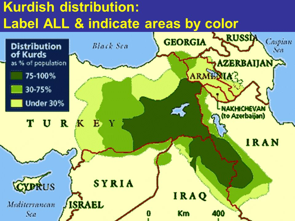 Kurdish distribution: Label ALL & indicate areas by color