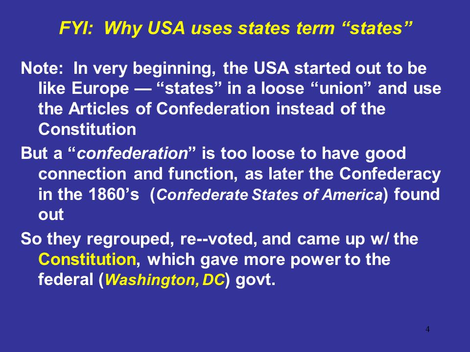 FYI: Why USA uses states term states