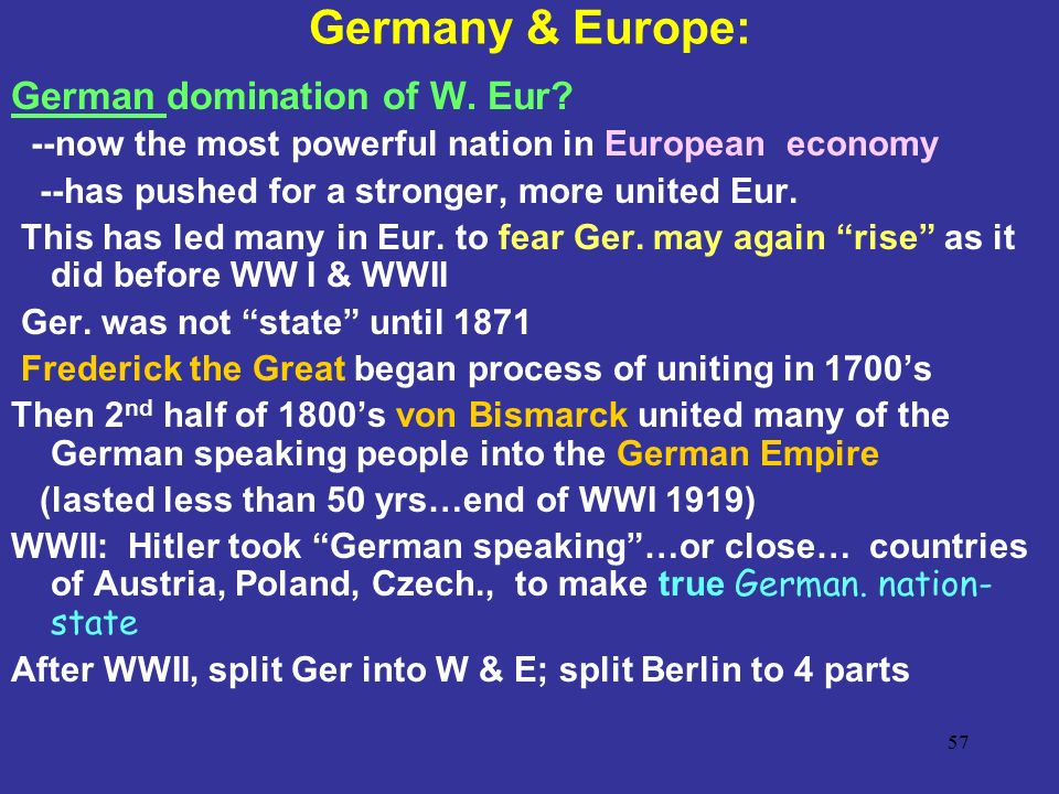 Germany & Europe: German domination of W. Eur