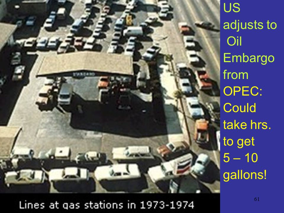 US adjusts to Oil Embargo from OPEC: Could take hrs. to get 5 – 10 gallons!