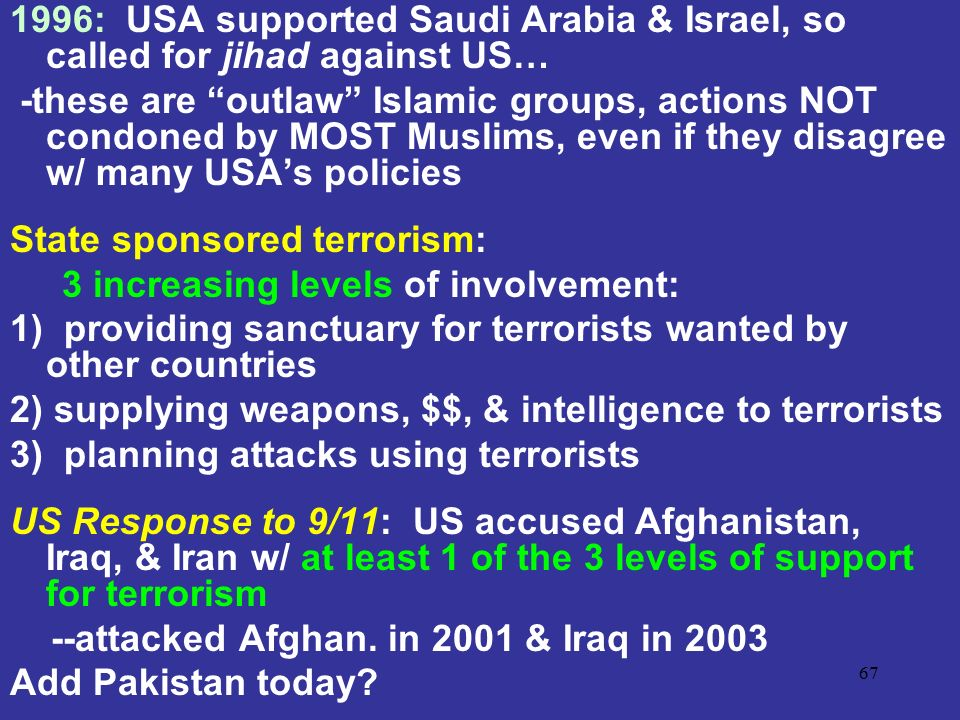1996: USA supported Saudi Arabia & Israel, so called for jihad against US…