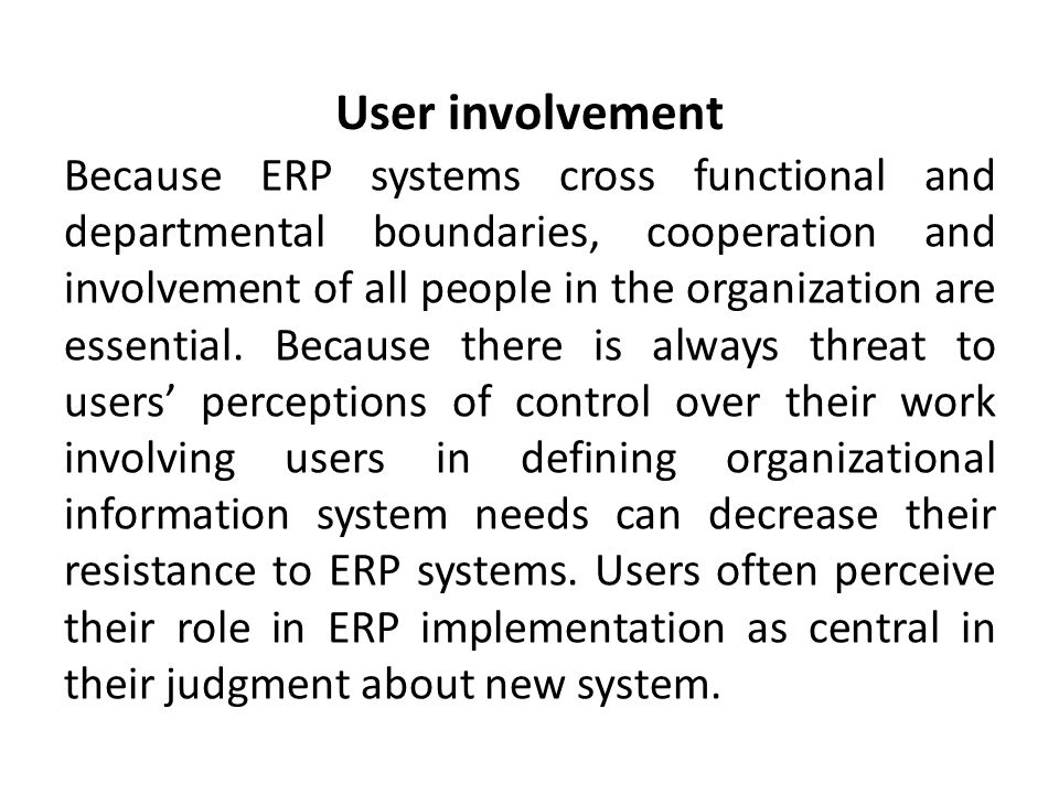 role of organizational factors in erp Implementing enterprise resource planning systems:  yap c it implementation through the lens of organizational  a critical success factors model for erp .