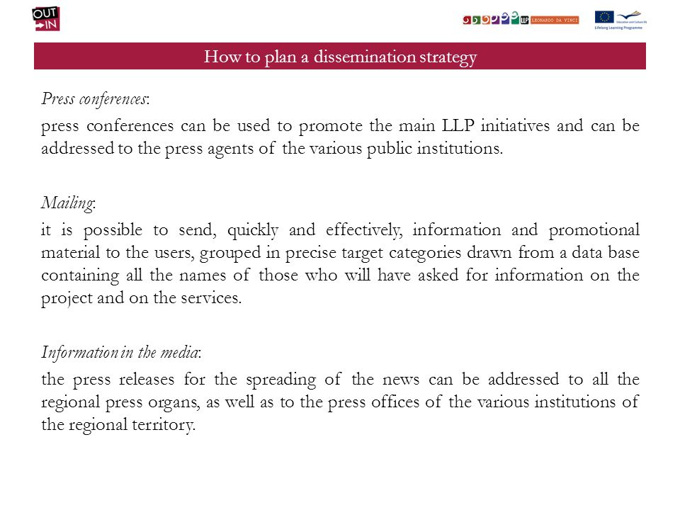 How to plan a dissemination strategy