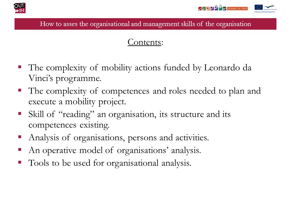 Analysis of organisations, persons and activities.