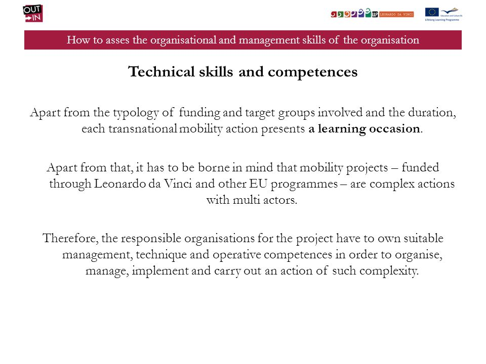 Technical skills and competences