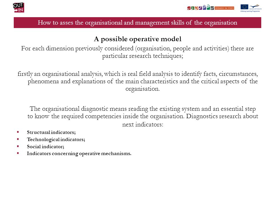 A possible operative model