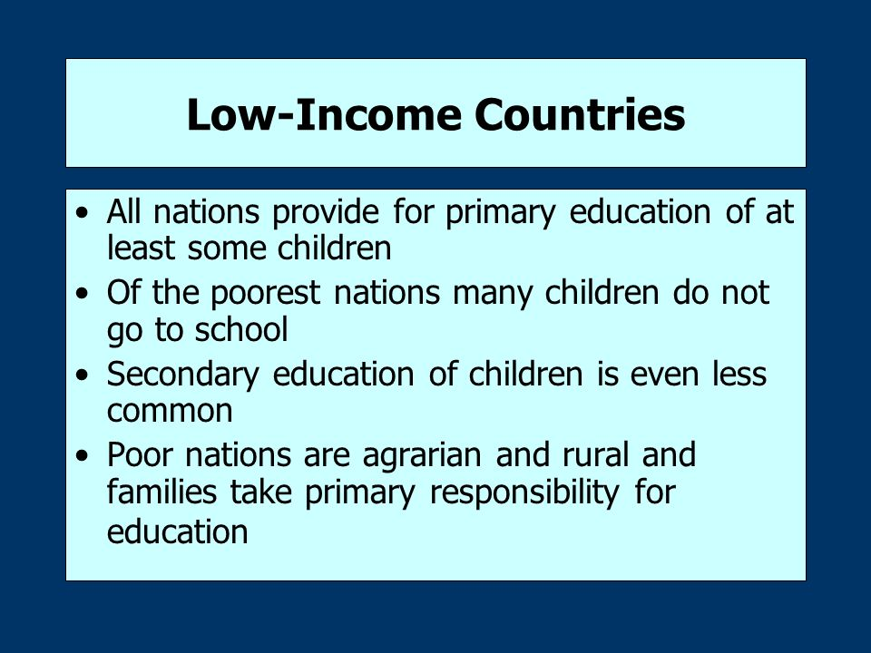 low income and education The level of education however, is more difficult for private than for public school  parents with low income tend to put their child in public.