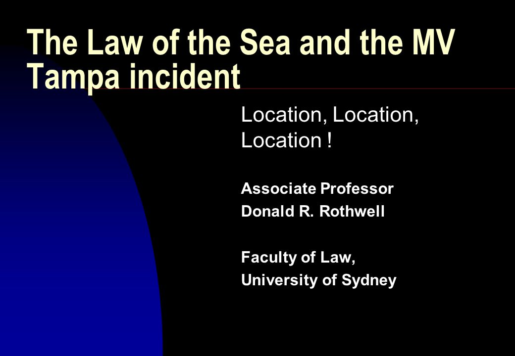The Law of the Sea and the MV Tampa incident