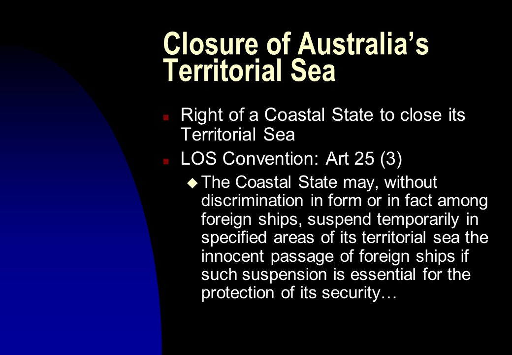 Closure of Australia's Territorial Sea