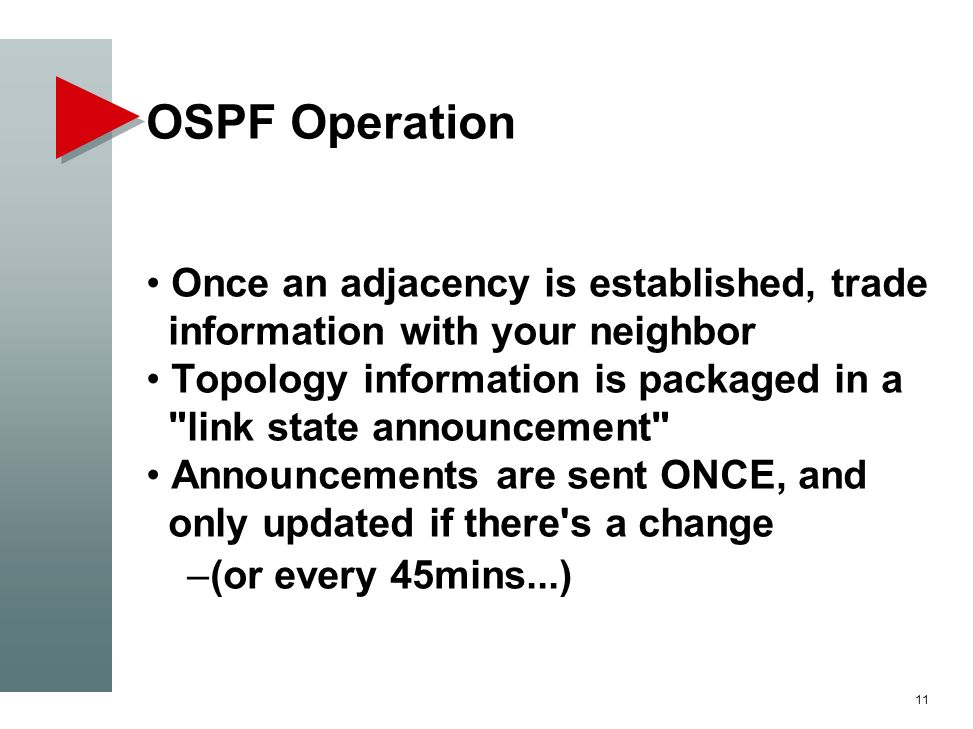 OSPF Operation Once an adjacency is established, trade information with your neighbor.