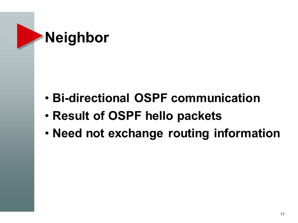 Neighbor Bi-directional OSPF communication