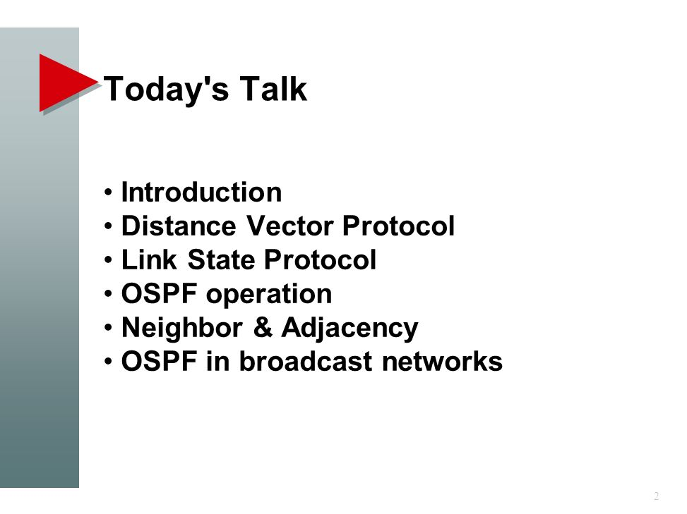 Today s Talk Introduction Distance Vector Protocol Link State Protocol