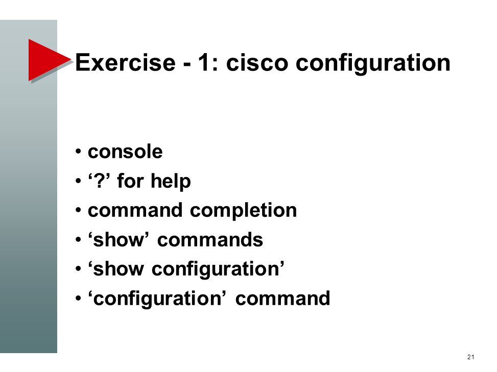 Exercise - 1: cisco configuration