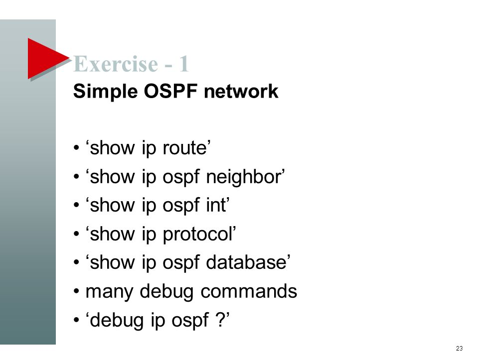Exercise - 1 Simple OSPF network 'show ip route'