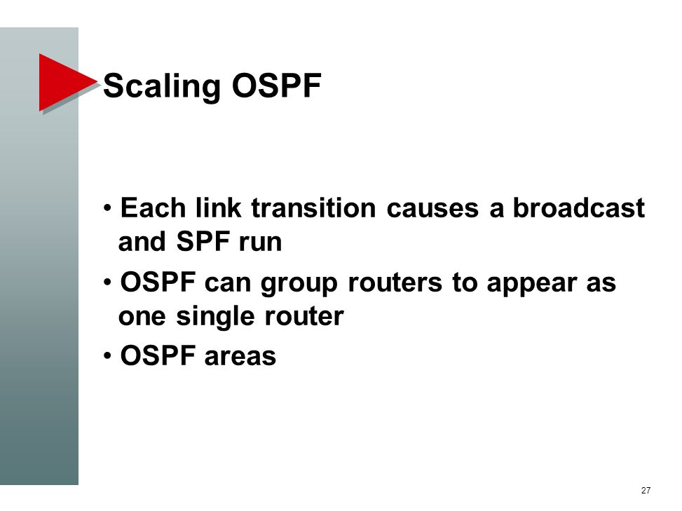 Scaling OSPF Each link transition causes a broadcast and SPF run