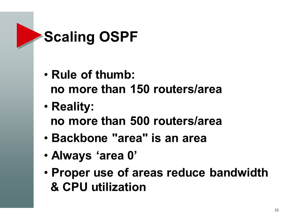 Scaling OSPF Rule of thumb: no more than 150 routers/area