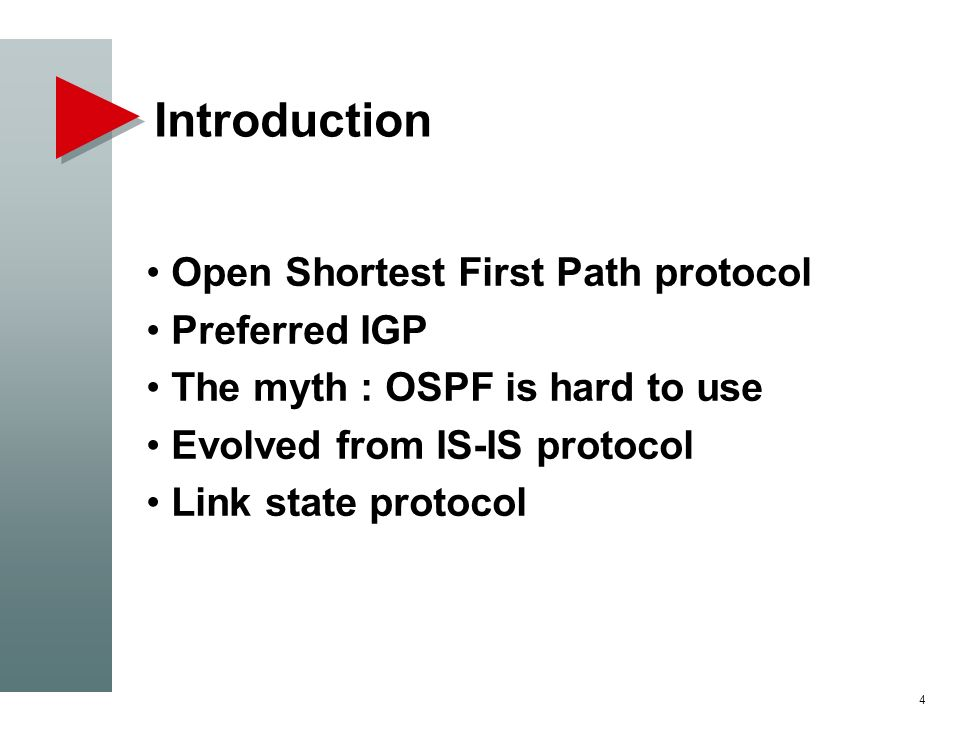 Introduction Open Shortest First Path protocol Preferred IGP