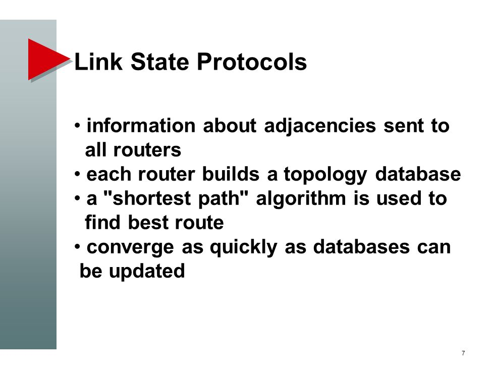 Link State Protocols information about adjacencies sent to all routers