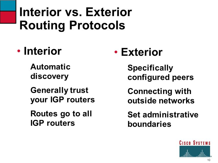 Interior vs. Exterior Routing Protocols
