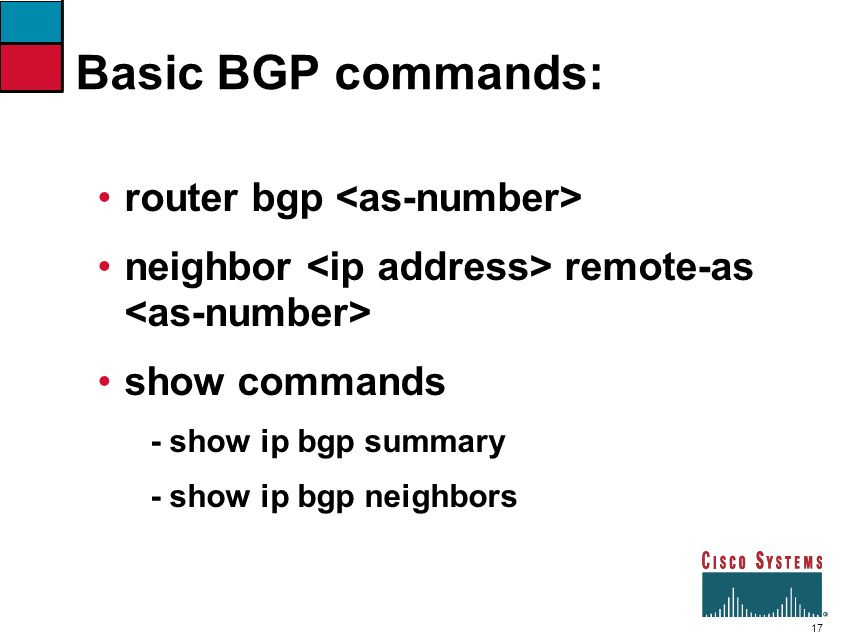 Basic BGP commands: router bgp <as-number>