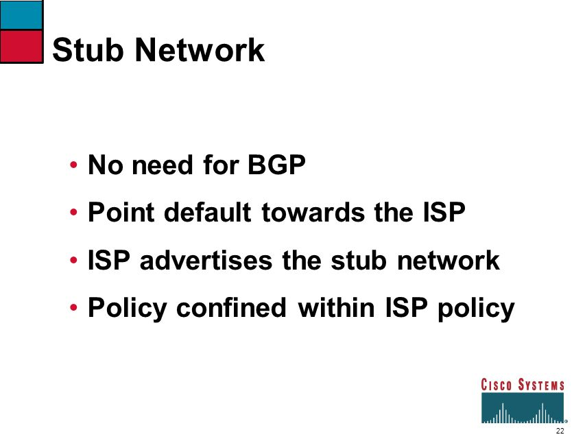 Stub Network No need for BGP Point default towards the ISP