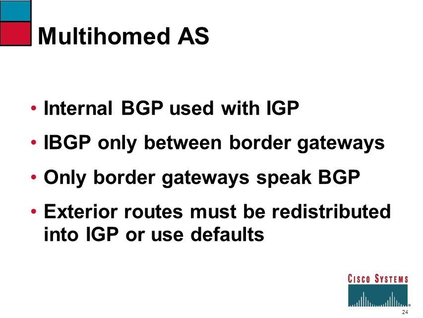 Multihomed AS Internal BGP used with IGP
