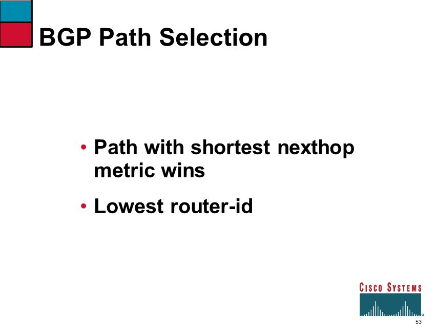 BGP Path Selection Path with shortest nexthop metric wins