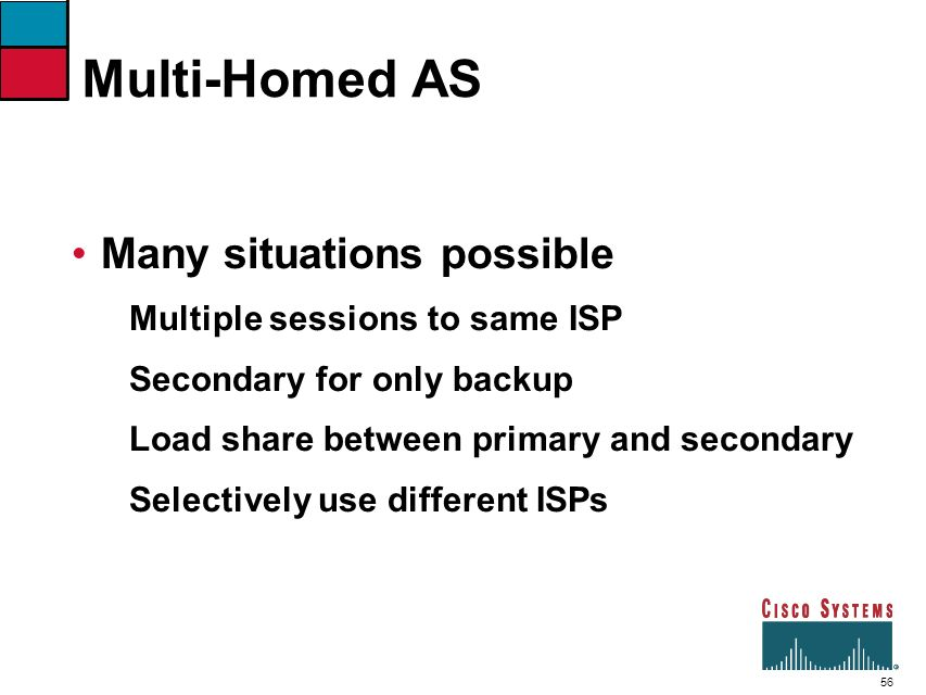 Multi-Homed AS Many situations possible Multiple sessions to same ISP