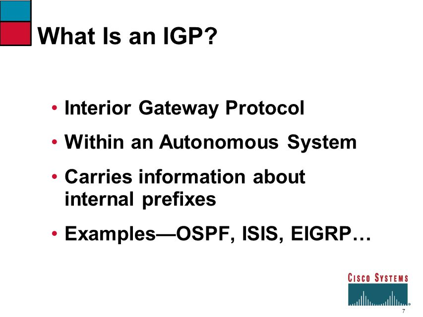 What Is an IGP Interior Gateway Protocol Within an Autonomous System