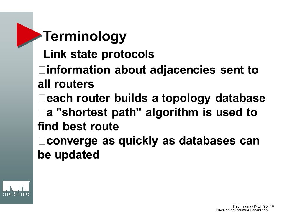 Terminology Link state protocols