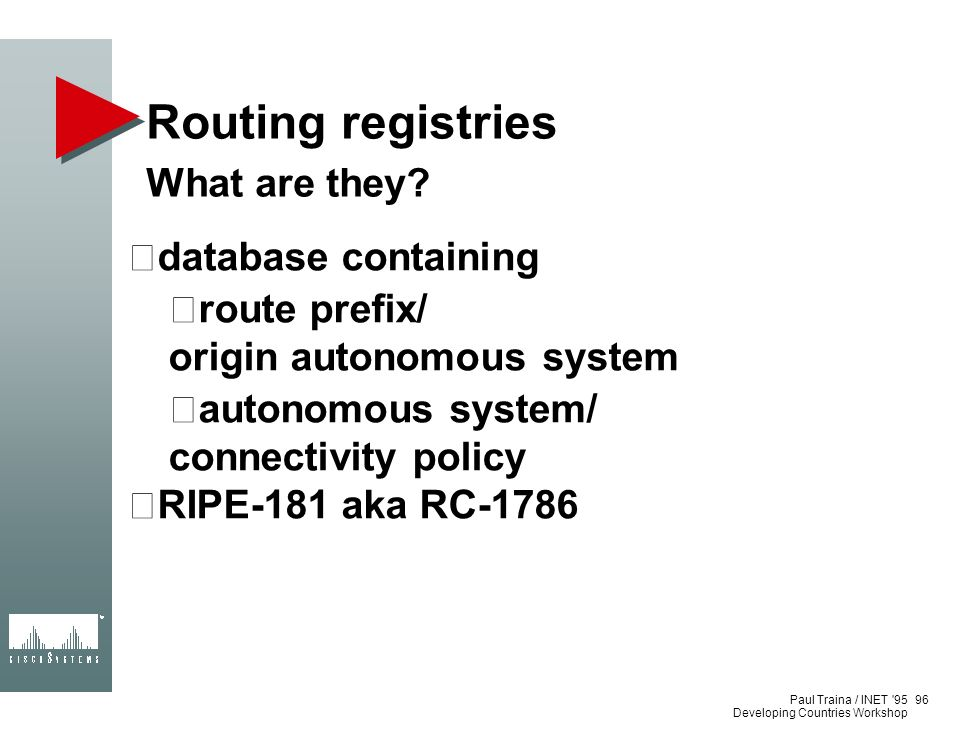 Routing registries What are they database containing