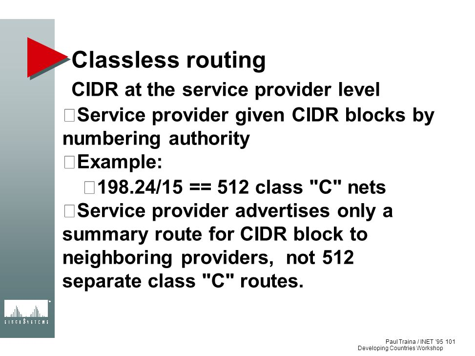 Classless routing CIDR at the service provider level
