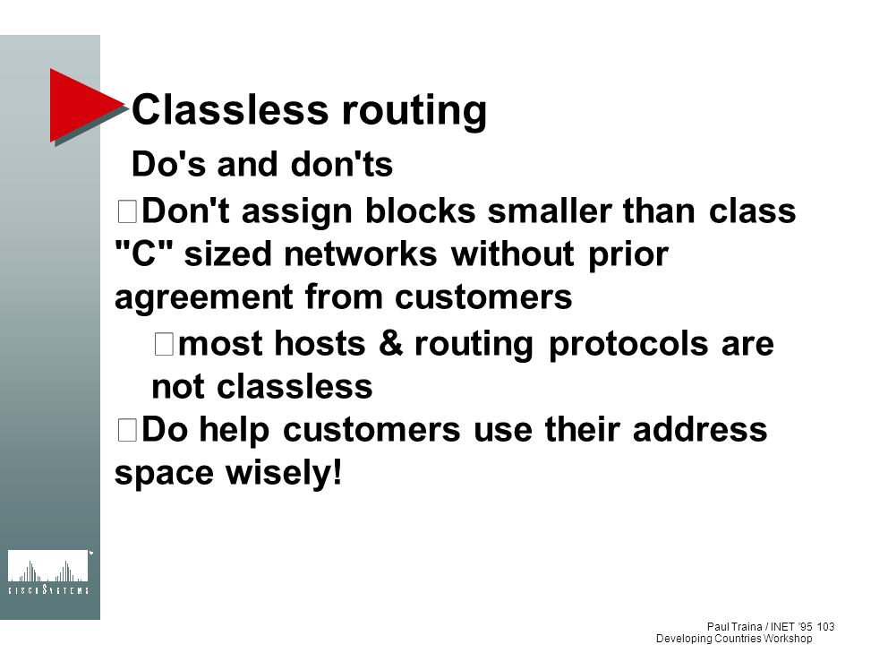 Classless routing Do s and don ts