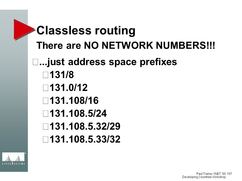 Classless routing There are NO NETWORK NUMBERS!!!