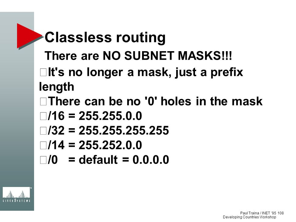 Classless routing There are NO SUBNET MASKS!!!