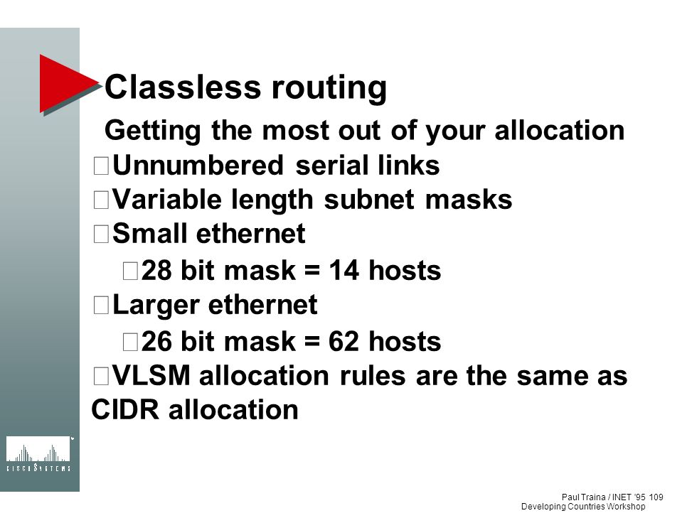 Classless routing Getting the most out of your allocation