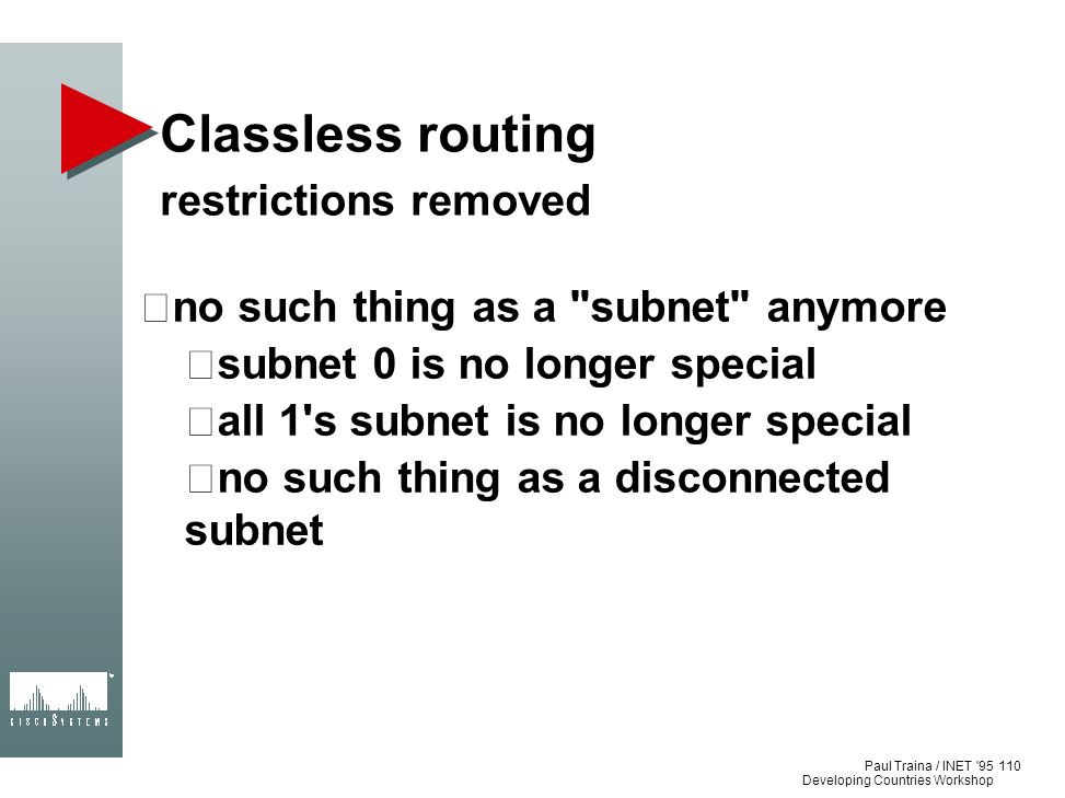 Classless routing restrictions removed