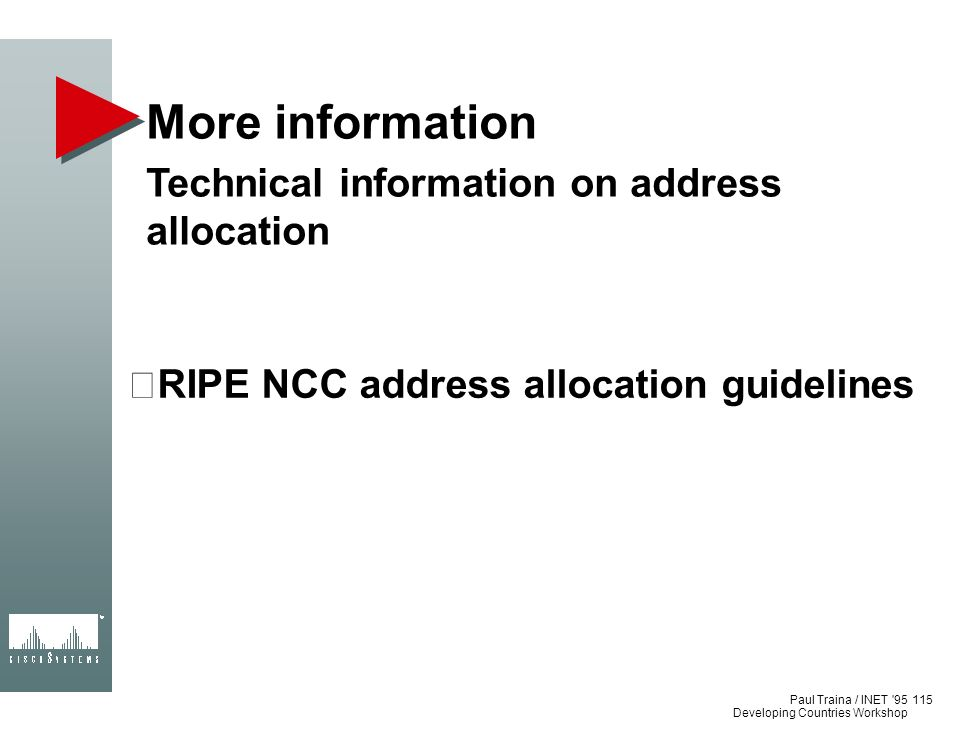 More information Technical information on address allocation
